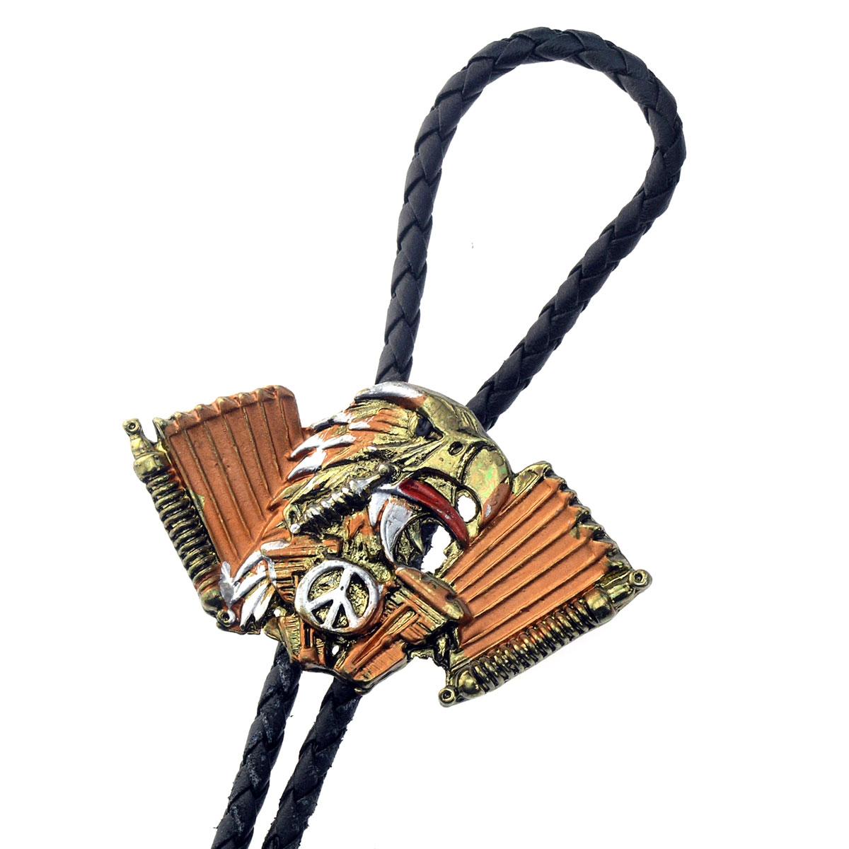 Bolo Tie Adler-Kopf, V-Twin & Peace-Symbol, Bolotie, Western Krawatte