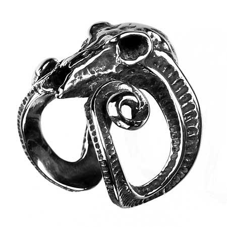 Edelstahl-Ring Widder-Schädel, Totenkopf, Aries, Skull, Tattoo