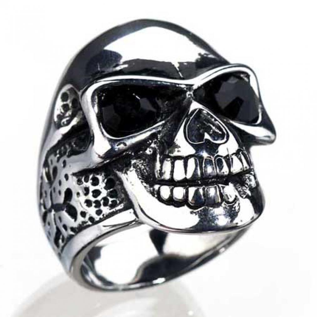 fetter edelstahl ring mit totenkopf skull biker ebay. Black Bedroom Furniture Sets. Home Design Ideas