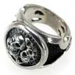 Imposanter 925er Silber-Ring 4 Totenköpfe, Skull, Punk, Biker