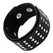 Schwarzes Leder- Armband mit Rundkopfnieten Biker Punker