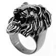 Imposanter Edelstahl-Ring Brüllender Löwe