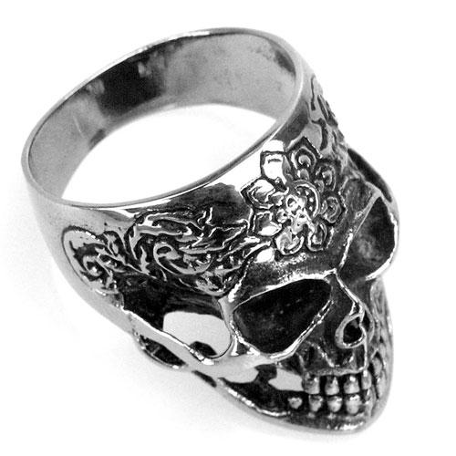 Edelstahl-Ring Lotos Skull, Totenkopf  mit Blüten-Tattoo, Biker