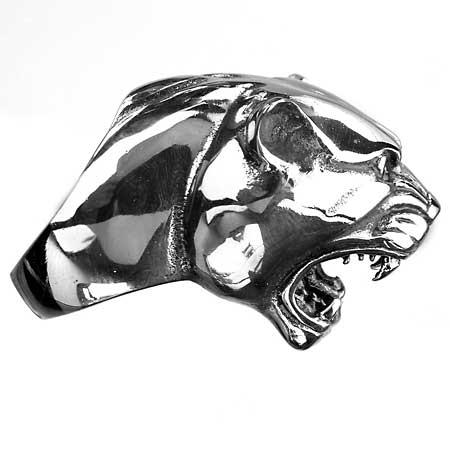 Edelstahl-Ring Angreifender Panther, Attacking Leopard, Raubkatze
