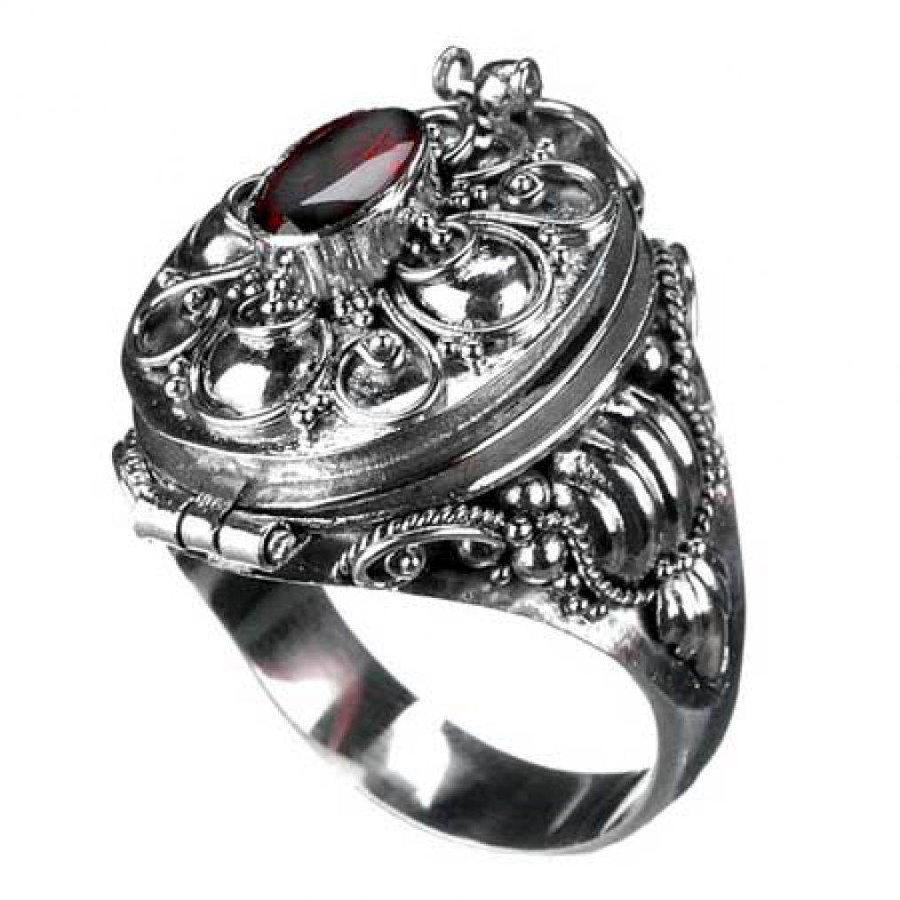 poison ring mit granat 925 silver ring gothic stone ebay. Black Bedroom Furniture Sets. Home Design Ideas