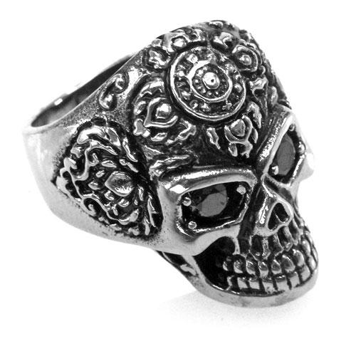 Edelstahl-Ring Tattoo Skull - Tätowierter Totenkopf mit Strass-Augen