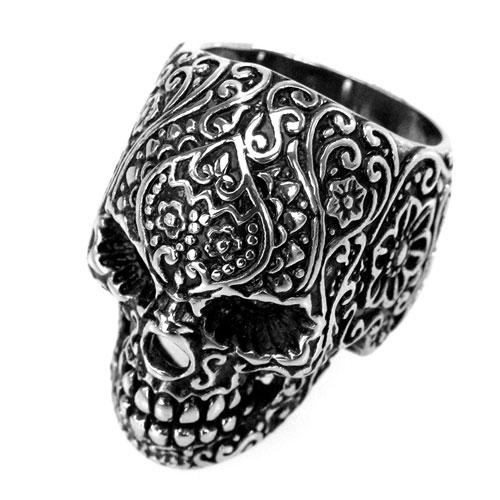 Edelstahl-Ring Tätowierter Totenkopf, Tattoo Skull, Biker