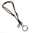 Schlüsselanhänger Handschelle, braunes Lederband, Schlüsselring