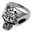 Edelstahl-Ring Skull-Face, Totenkopf mit Strass-Kreuz