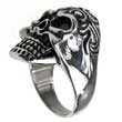Edelstahl- Ring Big Fat Skull Totenkopf mit Tribal Tattoo Biker