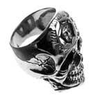 Edelstahl-Ring Tattoo Skull, recht groß, Totenkopf-Ring, Biker