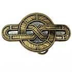 Vergoldetes Buckle mit fein gemasertem Kelten-Motiv, Gürtelschnalle