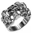 Edelstahl-Ring mit vielen Totenköpfen, Totenkopf, Skull, Biker