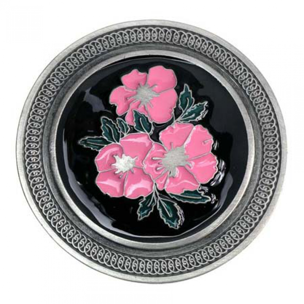 Round Buckle With Pink Flowers Flower Power Belt Buckle