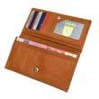 Große breite Leder-Geldbörse, Tan-Farbe, Geldbeutel