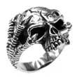 925er Silber-Ring Totenkopf mit Adlerkrallen, Skull, Biker
