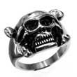 Edelstahl-Ring Skull & Bones - Totenkopf mit Biker-Brille