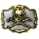 Vergoldetes Buckle Skull & Bones Pirat Totenkopf Gürtelschnalle