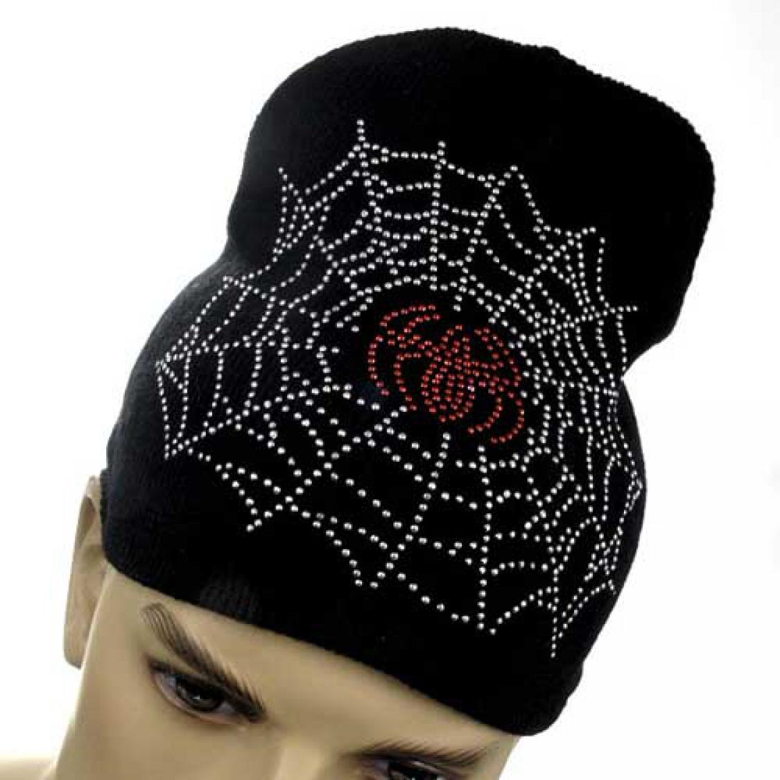 beanie cap mit spinne im netz spider spiderman strickm tze. Black Bedroom Furniture Sets. Home Design Ideas