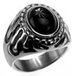 Fetter Edelstahl-Ring mit schwarzem Stein, Black Tribal & Pearl