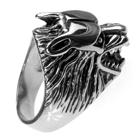Edelstahl-Ring Angreifender Wolf, Wolfskopf, Gr. 19 bis 24