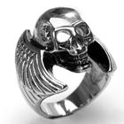 Edelstahl-Ring Totenkopf & Flügel, Skull, Biker, Gr. 19 bis 23