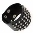 Leder- Armband 40 Kugelnieten dunkelbraun Nieten