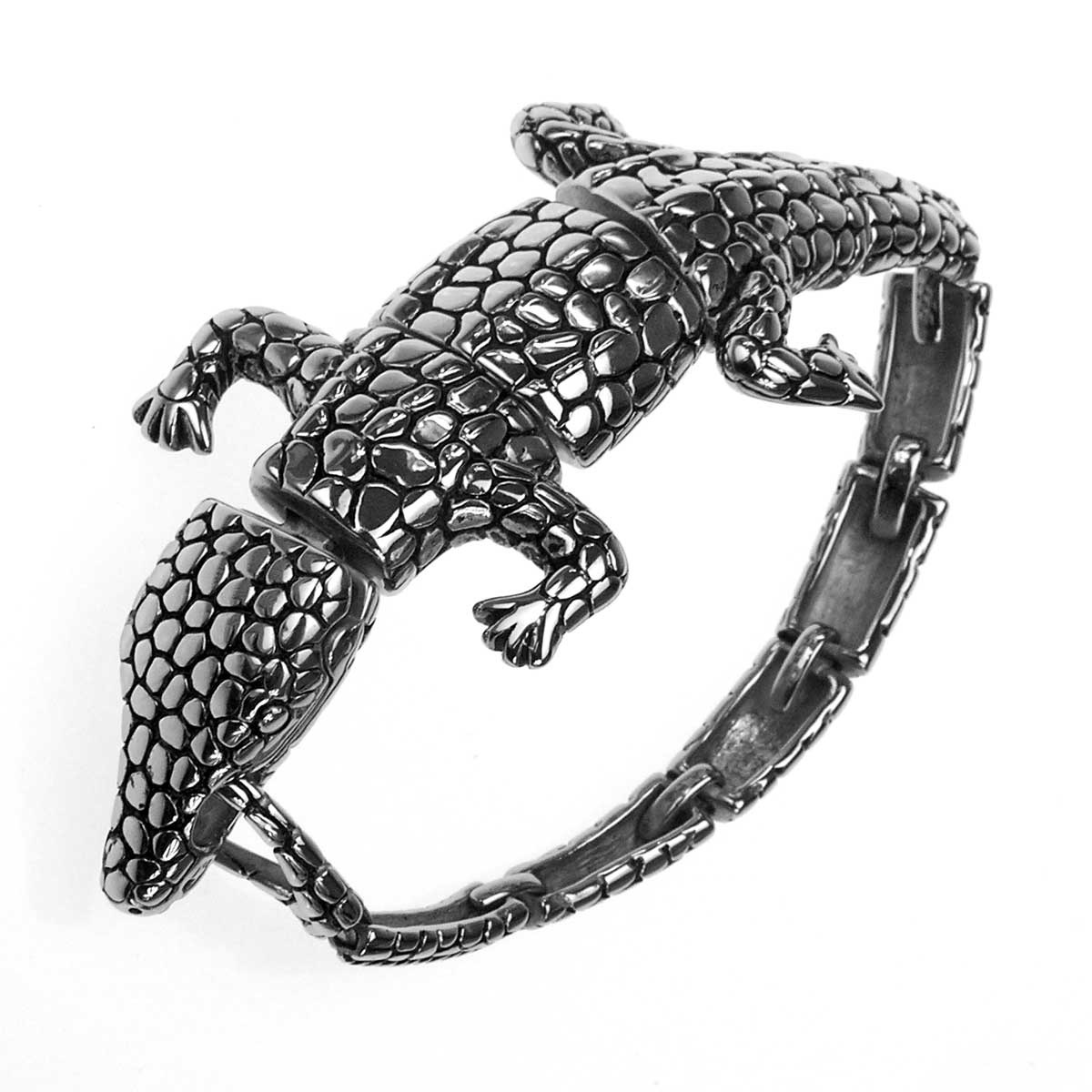 Edelstahl Armband als Krokodil, sehr schön!