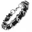 Armband aus Edelstahl & Leder, Leather Bracelet, 23 cm