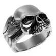 Fetter Edelstahl- Ring Totenkopf & Flügel Skull Schädel Biker