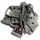 3D-Buckle Grim-Reaper mit Poker-Karten, Gürtelschnalle