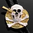 Bolotie mit Totenkopf und gekreuzten Knochen, Bolo Tie