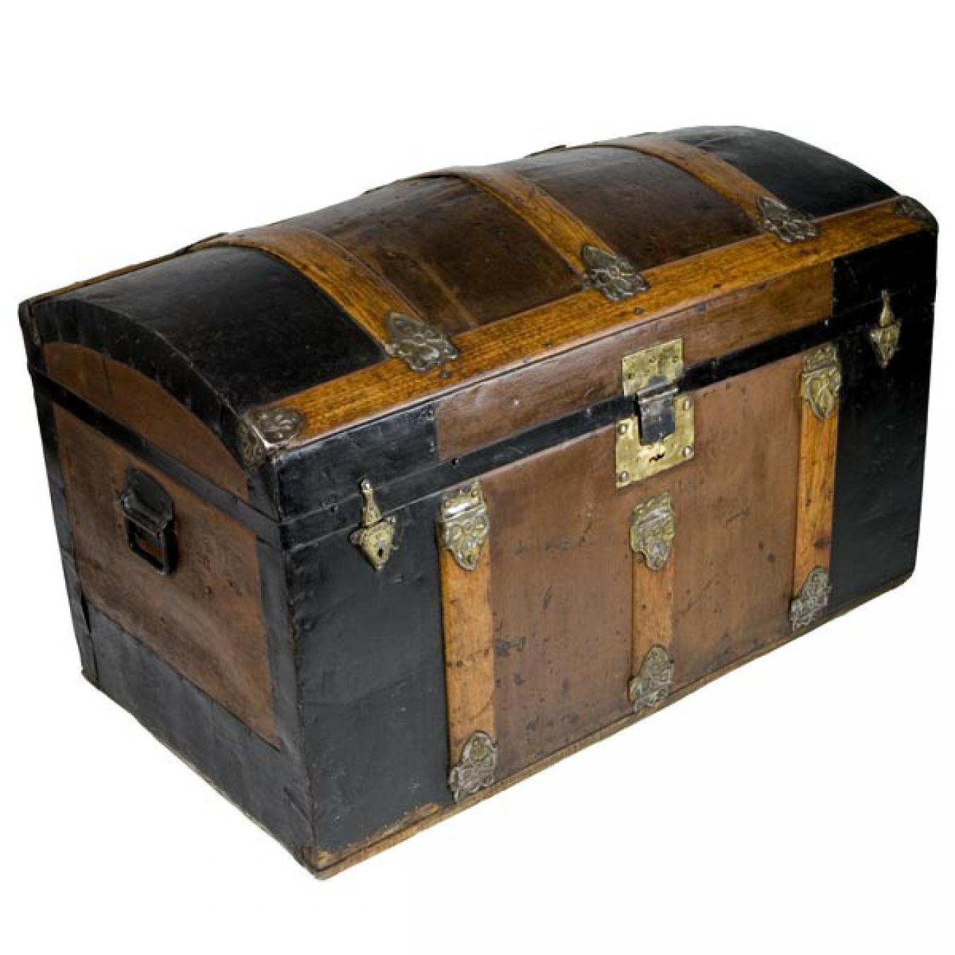 antike reisetruhe indientruhe runddeckeltruhe berseetruhe piratentruhe ebay. Black Bedroom Furniture Sets. Home Design Ideas