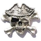 3D Buckle als Skull-Pirat mit Cross-Bones, recht groß, Gürtelschnalle