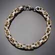 Edelstahl Armband, Königskette, 23 cm, Silber-Gold