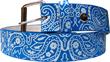 Fashiongürtel Blau mit Ranken und Blumenmuster, S - XL