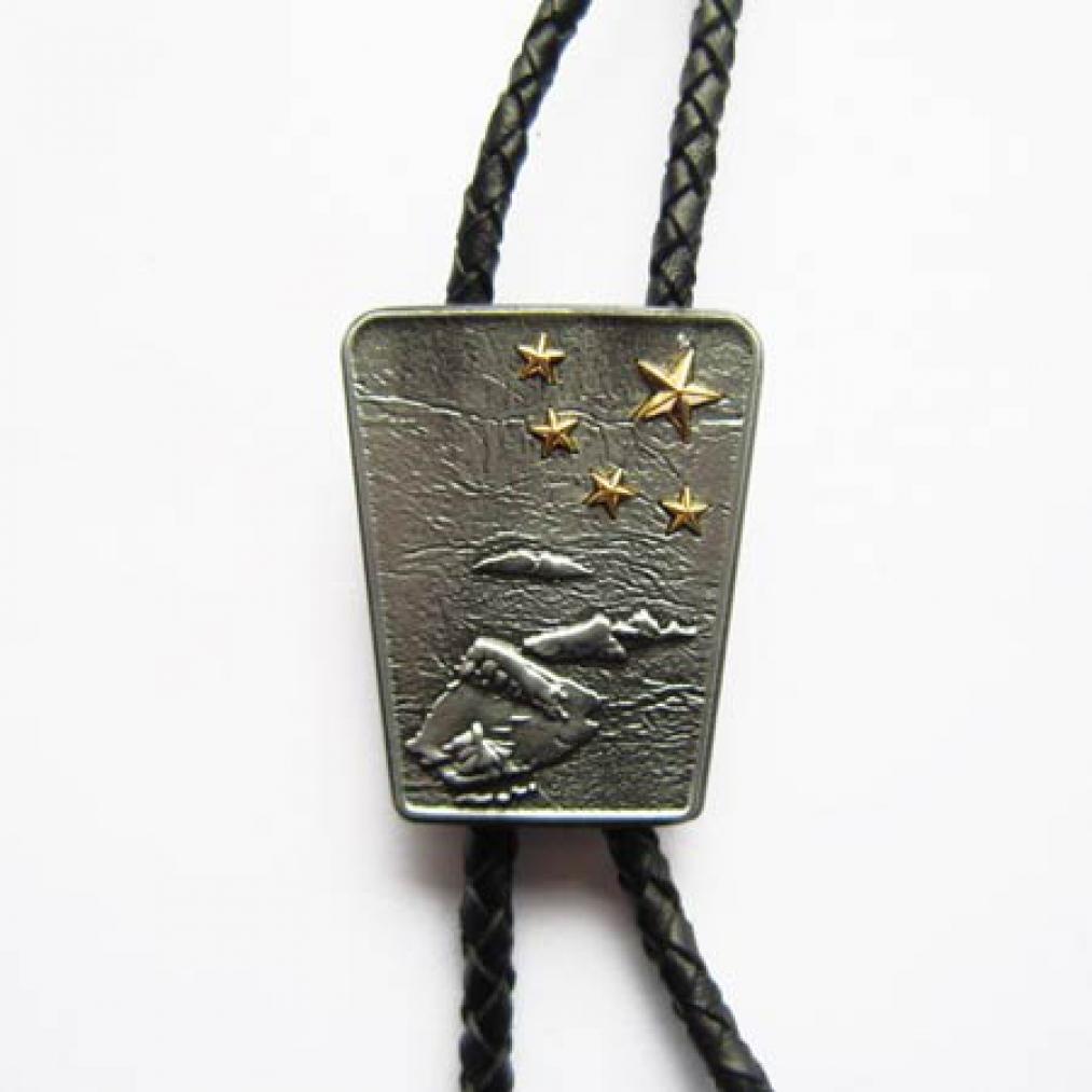 Bolo Tie Meer, Inseln & goldene Sterne, Bolotie, Western Krawatte