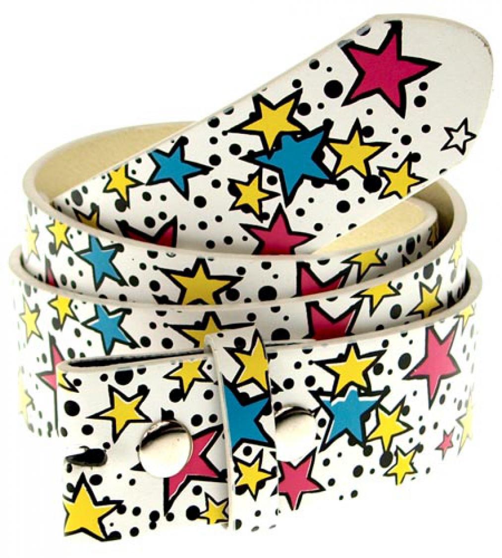 Buckle Gürtel weiß mit Sternenkaskaden, Feuerwerk, S-XL