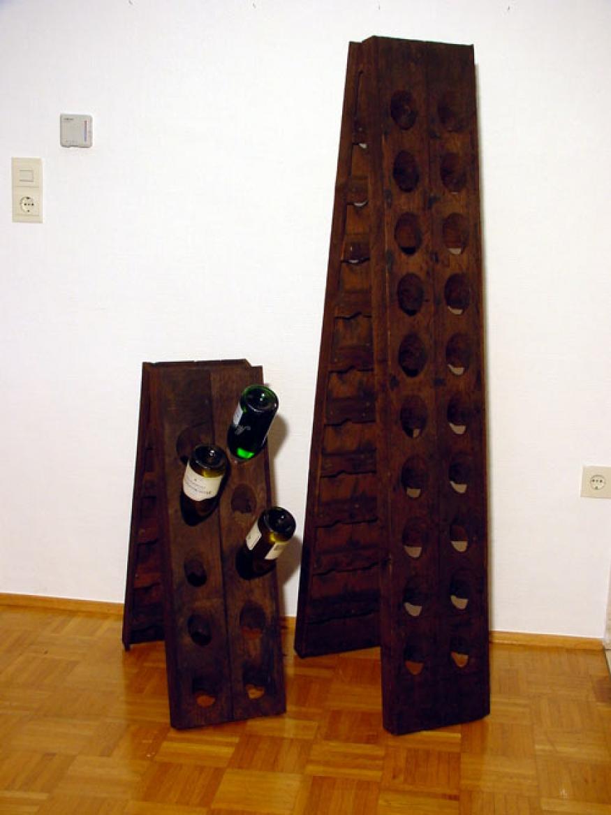 Old riddling rack wine rack champagne for 20 bottles ebay for Old wine rack