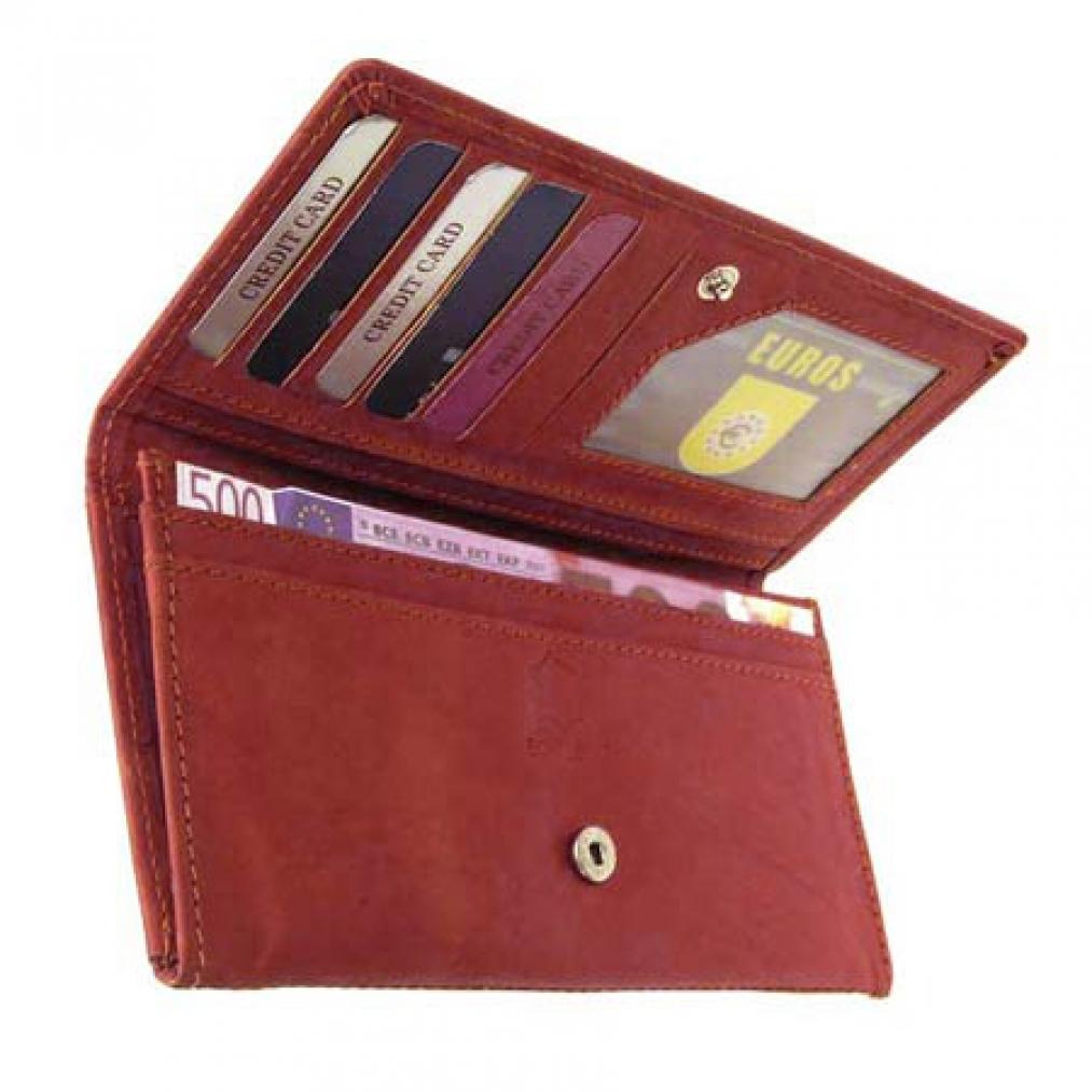 Große, breite Leder-Geldbörse, rotbraun, Geldbeutel