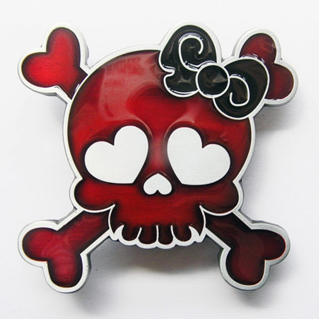 Der Piratenladen Onlineshop Girlie Buckle Roter Totenkopf Tattoo