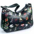 Kleines schwarzes Hobobag mit Tattoo Motiv, Handtasche