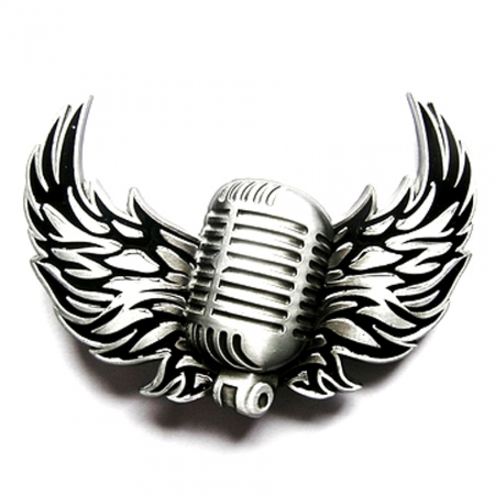 Buckle mikrofon rock musik tattoo guertelschnalle