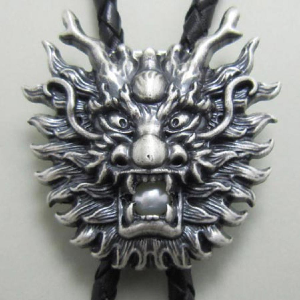 Bolo Tie Bolotie Pearl Dragon, Silber-Auflage, Drache, Perle, Bolotie