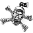 Edelstahl-Anhänger Pirat, Totenkopf mit gekreuzten Knochen