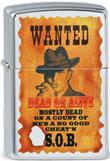 Original Zippo Wanted, Cowboy auf Steckbrief, Dead or Alive